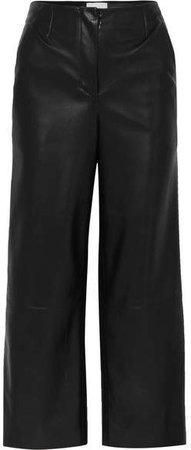 Nanushka - Africa Cropped Vegan Faux Leather Wide-leg Pants - Black