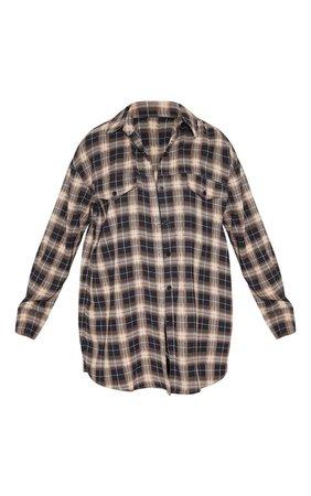 Black Check Oversized Shirt | Tops | PrettyLittleThing