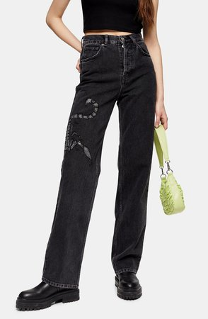 Crystal Scorpion Runway Wide Leg Jeans