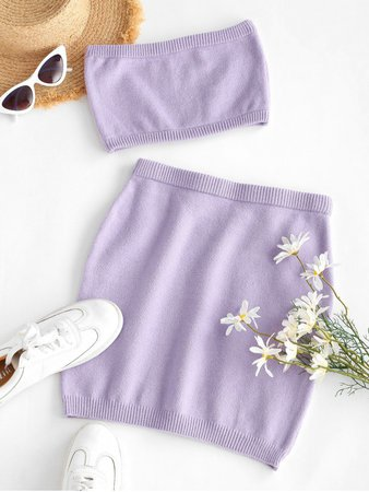 [23% OFF] [POPULAR] 2020 ZAFUL Two Piece Knitted Bandeau Top And Skirt Set In PURPLE | ZAFUL