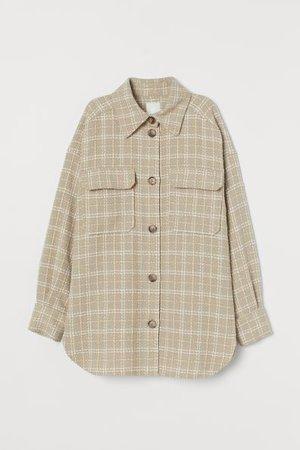 Veste-chemise - Beige/carreaux - FEMME | H&M CA