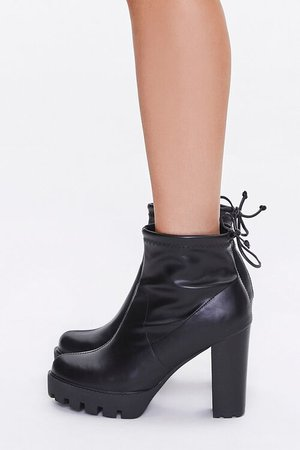 Faux Leather Block Heel Booties