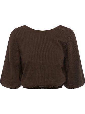 Peony three-quarter sleeves cropped blouse - FARFETCH