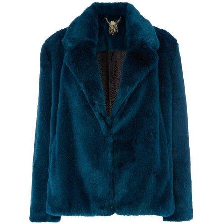 Teal faux fur jacket | House of Fraser