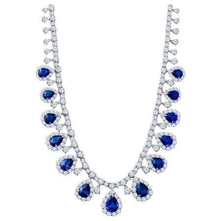 23.38ct Pear Shape Sapphire and 28.34 Carat Diamond Platinum Teardrop Necklace at 1stDibs