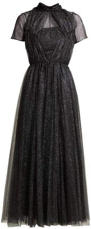 Gabriel Glittered Tulle Gown - Womens - Black