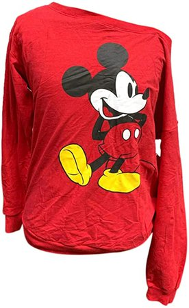 Amazon.com: Disney Women's Sweatshirt Mickey Minnie Mouse Boat Neck Pullover (Red, X-Large): Clothing