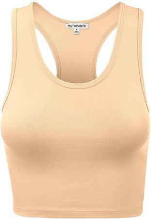 HATOPANTS Women's Cotton Racerback Basic Crop Tank Tops at Amazon Women's Clothing store