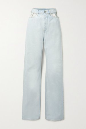 Cutout High-rise Wide-leg Jeans - Blue