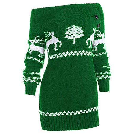 Off-The-Shoulder Elk Print Knit Robe Reindeer Sweater Ladies Sexy Slash Christmas Pullover Sweater Casual Sweater at Amazon Women's Clothing store