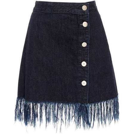 3X1 WS Asymmetrical Fringed Skirt
