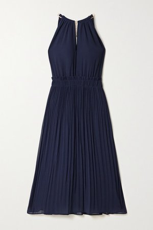 Hayden Chain-embellished Pleated Georgette Dress - Navy