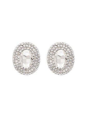 Alessandra Rich Oval Embellished Earrings | Farfetch.com