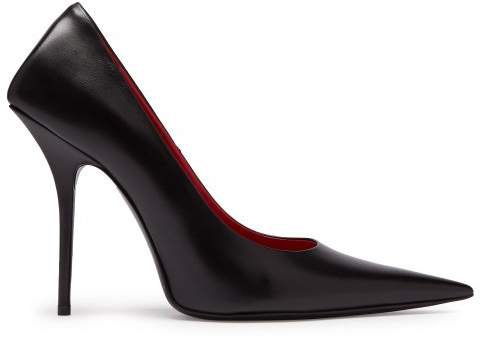Square Knife Leather Pumps - Womens - Black