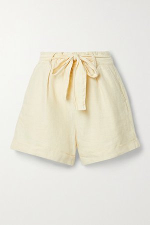 Avery Belted Pleated Linen Shorts - Off-white