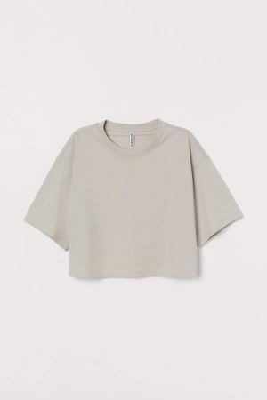 Cropped T-shirt - Brown