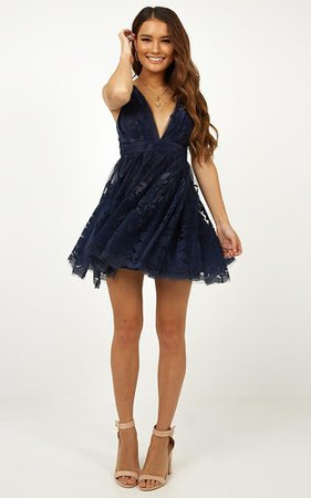Moon beam Dress In Navy | Showpo