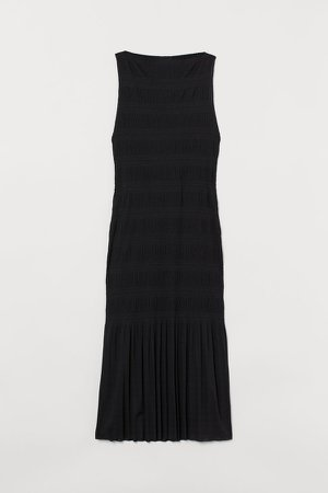 Pleated Jersey Dress - Black