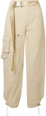 Belted Cotton-blend Drill Tapered Pants - Sand