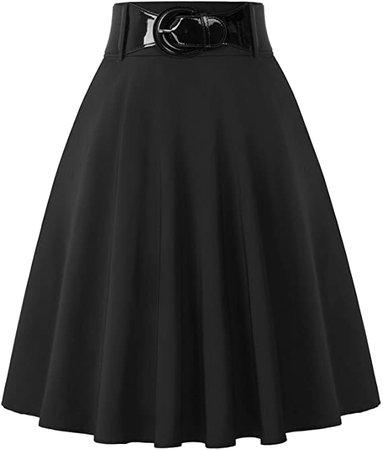 Belle Poque Women's High Waist A-Line Pockets Skirt Skater Flared Midi Skirt at Amazon Women's Clothing store