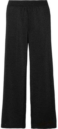Metallic Crochet-knit Wide-leg Pants - Black