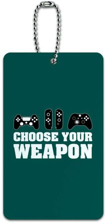Amazon.com   Choose Your Weapon Controllers Games Gamer Luggage Card Suitcase Carry-On ID Tag   Luggage Tags