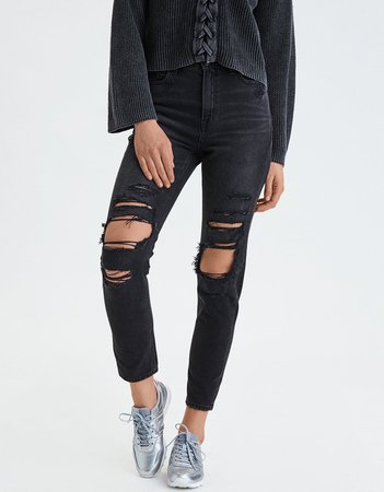 Mom Jean, Destroyed Black | American Eagle Outfitters