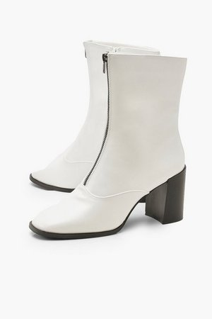 Zip Front Block Heel Sock Boots   Boohoo