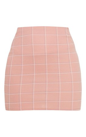DUSTY PINK CHECKED MINI SKIRT