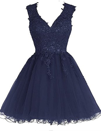 Amazon.com: Homecoming Dress Short Cocktail Dress Lace Homecoming Dresses Tulle Appliques Prom Dresses V Neck: Clothing