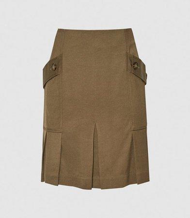 Mina Khaki Pleated Mini Skirt – REISS