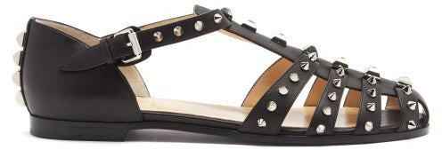 Loubiclou Studded Caged Leather Sandals - Black