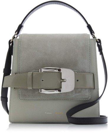 Buckle-Embellished Leather And Suede Shoulder Bag
