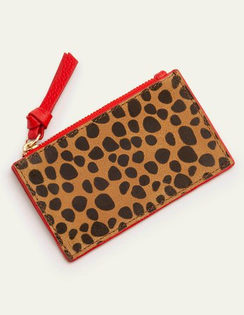 Leather Coin & Card Holder - Camel Cheetah | Boden US