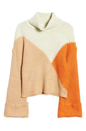 MINKPINK Colorblock Turtleneck Sweater
