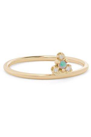 Wwake   + NET SUSTAIN Burst Ring aus Gold mit Opal und Diamanten   NET-A-PORTER.COM