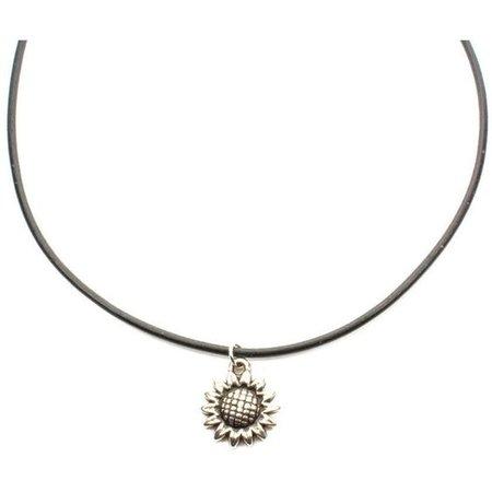 Sunflower 90s Black Leather Choker. Boho Flower Choker Necklace
