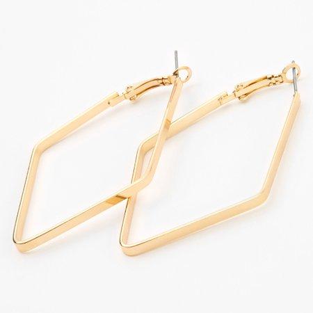 Gold 60MM Geometric Hoop Earrings | Claire's US