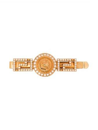 Versace Crystal Embellished Medusa Hairclip DGFH192DJMX Gold | Farfetch