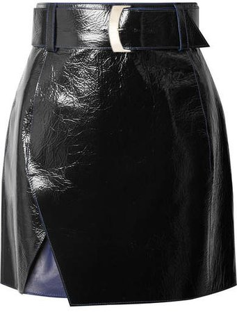 Glossed-leather Mini Skirt - Black