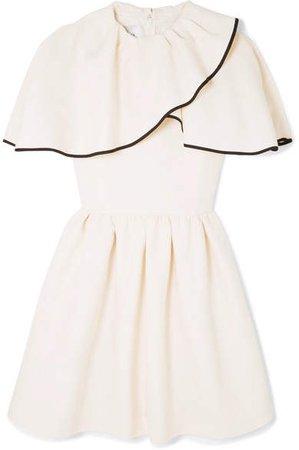 Ruffled Wool And Silk-blend Grain De Poudre Mini Dress - Ivory