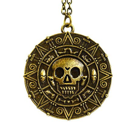 Bronze - Pirates of the Caribbean Aztec Coin Medallion Skull Charm Fancy Dress Necklace: Amazon.co.uk: Jewellery