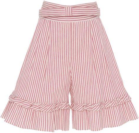 Striped Ruffle Cotton-Blend Bermuda Shorts