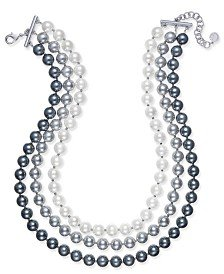 Charter Club Imitation Pearl Ombré Three-Row Collar Necklace, Created for Macy's & Reviews - Necklaces - Jewelry & Watches - Macy's