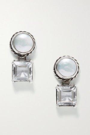 Sophie Buhai | Firenze silver, pearl and crystal quartz earrings | NET-A-PORTER.COM