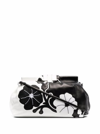 Ermanno Scervino floral-embroidered leather clutch black & white D383S807NBJ - Farfetch
