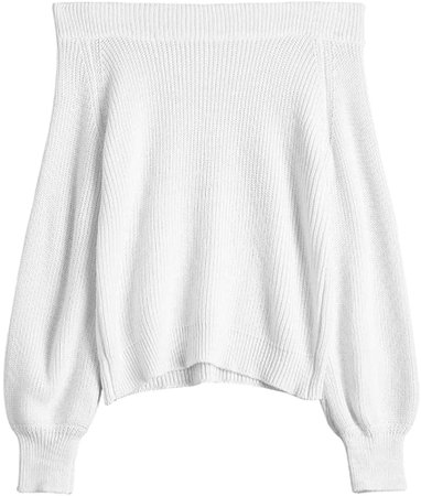 ZAFUL Women's Knit Sweater Lantern Sleeve Casual Batwing Sleeve Off Shoulder Loose Pullover Jumper White at Amazon Women's Clothing store