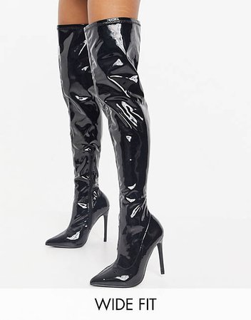Public Desire Wide Fit Confidence over the knee boot in black vinyl   ASOS