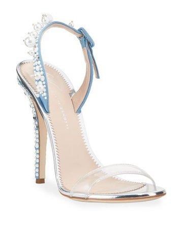 Giuseppe Zanotti Pearly Denim Cocktail Sandals