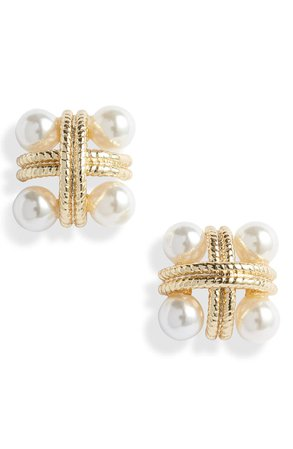 Sterling Forever Rope & Imitation Pearl Stud Earrings | Nordstrom